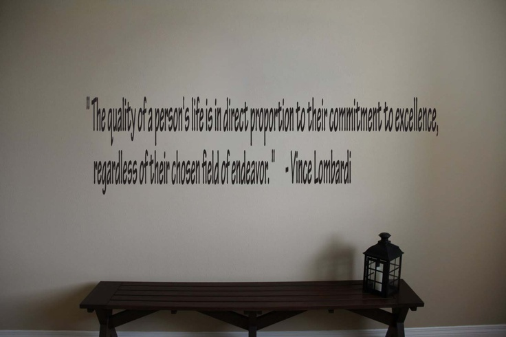 """Vince Lombardi Inspirational Football Sports Quote Vinyl Wall Sticker Decal 4""""h x 22'w. $14.99, via Etsy."""