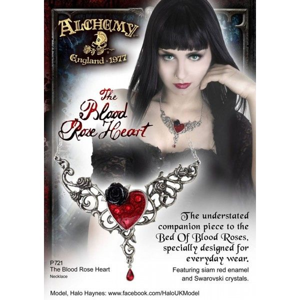 Collier Gothique Romantique Blood Heart Rose, le Cadeau idéal pour la Saint Valentin! #Love #Collier #Romantique #Bijoux #Cadeau