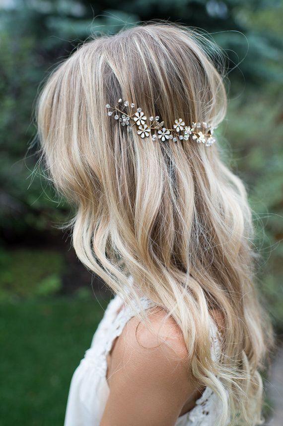 Boho Gold Hair Flower Half Halo Hair Vine, VSCO girl Hair Wreath, Forehead Band, Boho Wedding Headpiece - 'NOMI