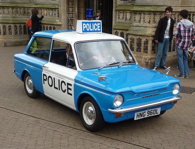 Hillman Imp Police Car. I had the model of this car (Corgi Toys) with policeman inside.