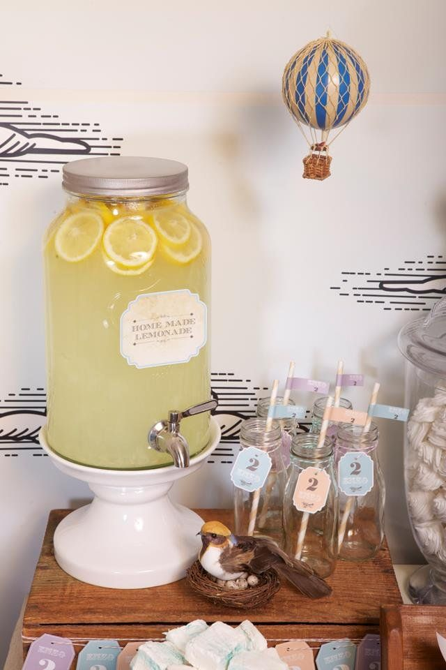 Vintage Airplane Birthday Party- I love the lemon slices in the lemonade