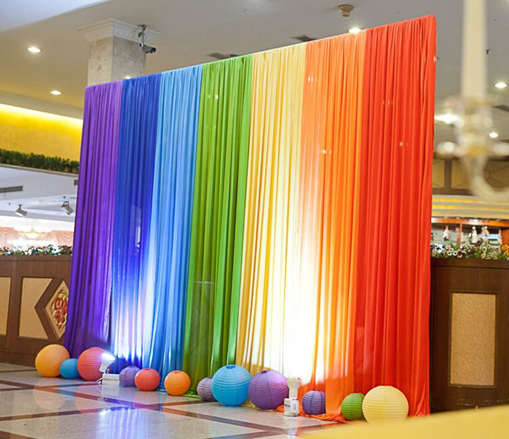 Cheap decor party, Buy Quality party tutus directly from China decorate wedding party Suppliers: New Ice Silk Rainbow Wedding Backdrop Colourful Wedding Background Party Decoration Free Shipping