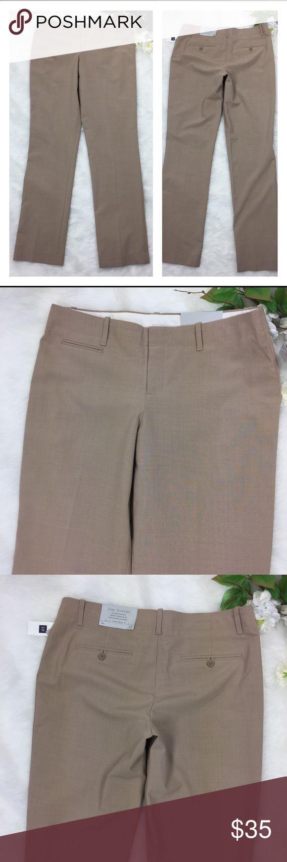 "Gap Trousers True Straight Pants Tan Size 6 Reg Gap Trousers career work slacks size 6 regular.  Gap true straight leg pants in Tan new with tags. Measurements flat  Rise 9"" Waist 16"" Inseam 33"" Location R11 GAP Pants Trousers"