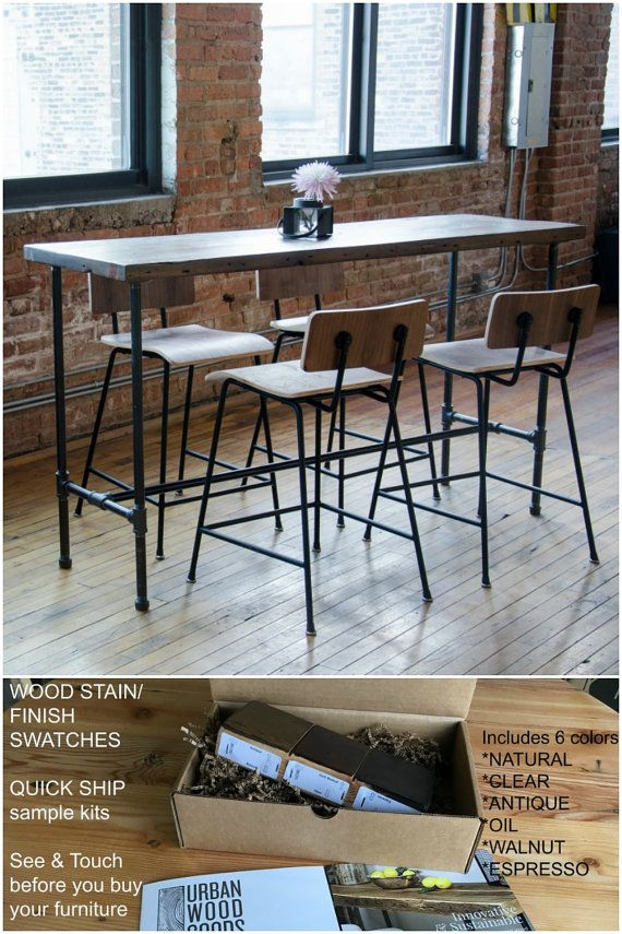 Bar height reclaimed wood pub table.  Finish/stain sample kit to try B4 you buy