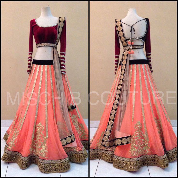 Coral Crush Lehenga by MischB Couture