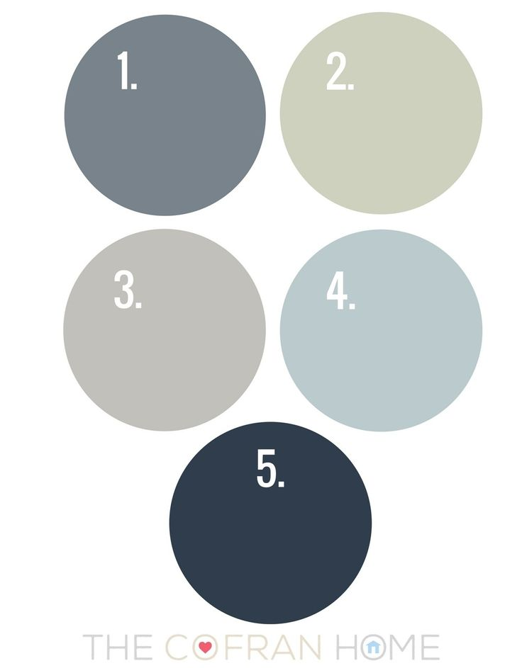 1.) Sherwin-Williams Storm Cloud 2.) Sherwin-Williams Liveable Green 3.) Sherwin-Williams Light French Gray 4.) Sherwin-Williams Sleepy Blue 5.) Sherwin Williams Naval