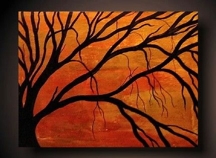 easy tree paintings on canvas fall colors painting