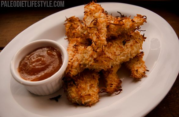Coconut Crusted Chicken Strips - low carb, gluten free, grain free