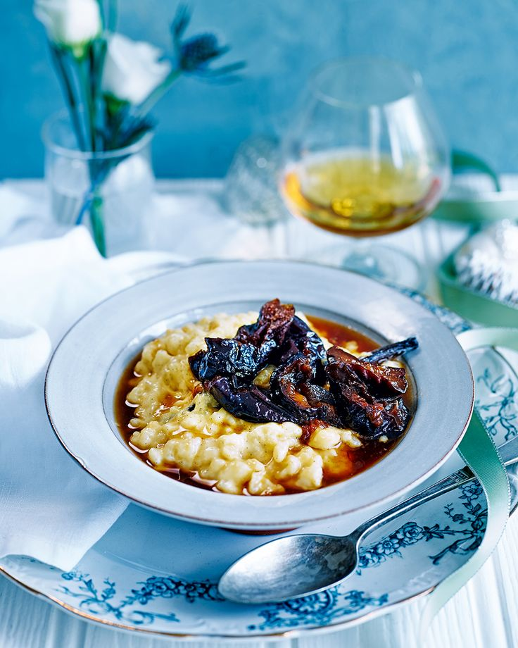 Simon Hulstone's rice pudding recipe is a twist on the classic. The armagnac and earl grey prunes offer a depth of warming flavours – perfect for a cold evening.