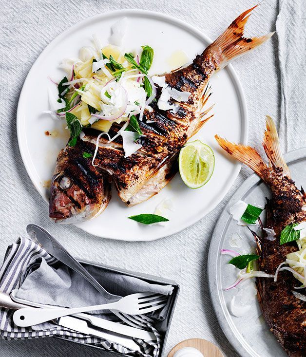 Jerk snapper with pineapple and lime food photography, food styling