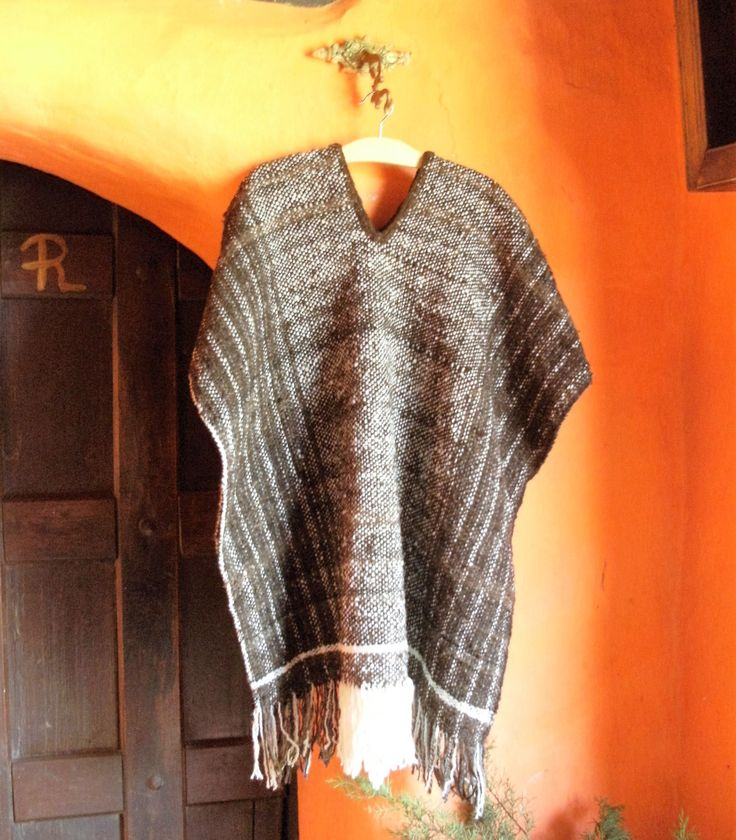 Hand Woven Poncho / 100% Andean Pure Wool / Brown Ruana by CasaLunaCo on Etsy