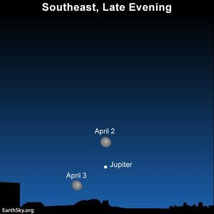 Moon and Jupiter April 2 and 3 | Tonight | EarthSky