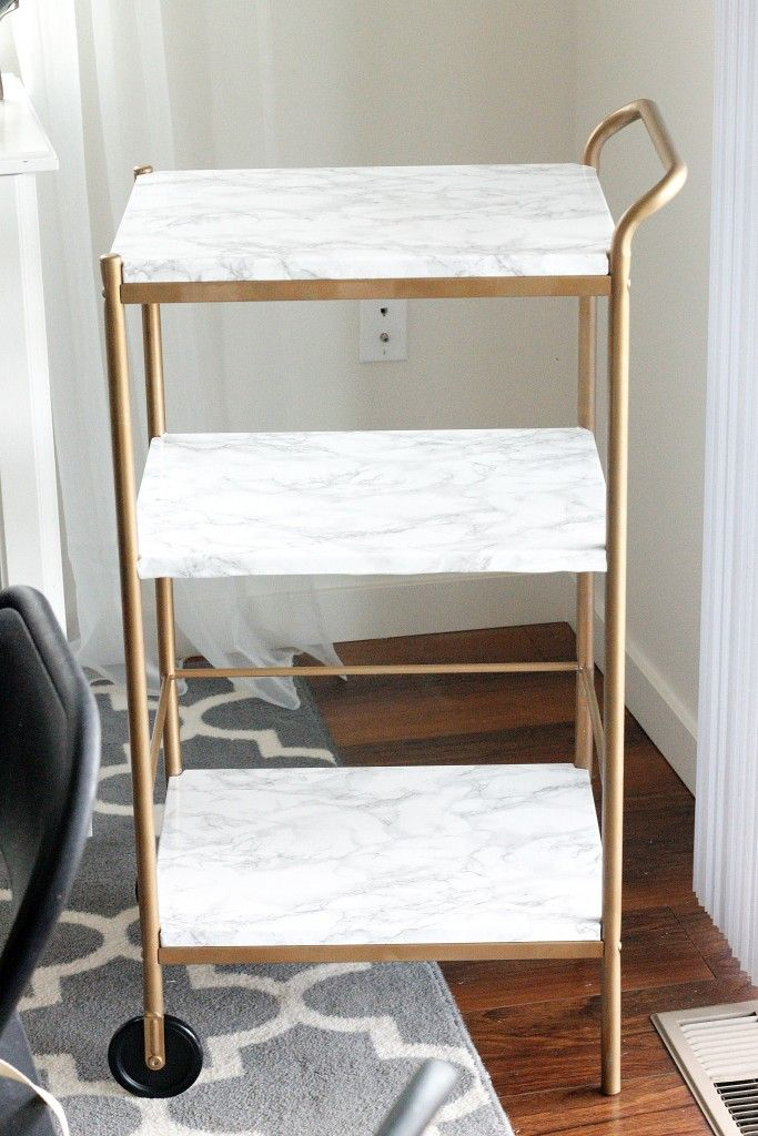 DIY | Marble & Gold Bar Cart (for under $10!)                                                                                                                                                                                 More