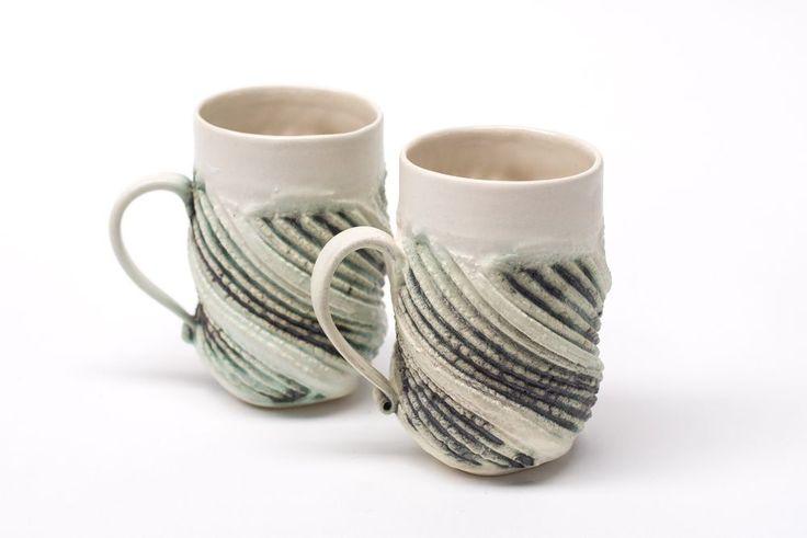 Australian Studio Pottery Porcelain Mugs - Fran Kernich, Adelaide
