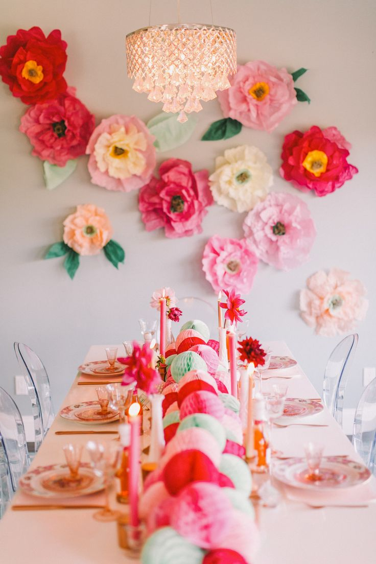 Adorable DIY Flower Wall! See more of this party on Style Me Pretty:  http://www.StyleMePretty.com/2014/02/12/diy-flower-wall-bridesmaids-party/ Photography: Cameron Ingalls