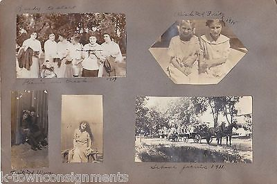 LITTLE GIRLS WITH KITTENS HORSE DRAWN WAGON ANTIQUE SNAPSHOT PHOTOS 1911