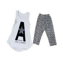 2ks batole Děti Holky Vest Soft tričko topy Leopard Kalhoty Oblečení pro Oblečení 2-7Y (Čína (pevninská část))