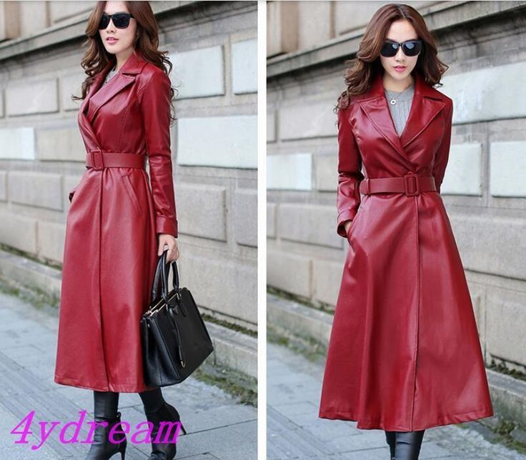 Formal Women's Long Trench Coat Faux Leather Slim Jacket Windbreaker Outerwear   eBay