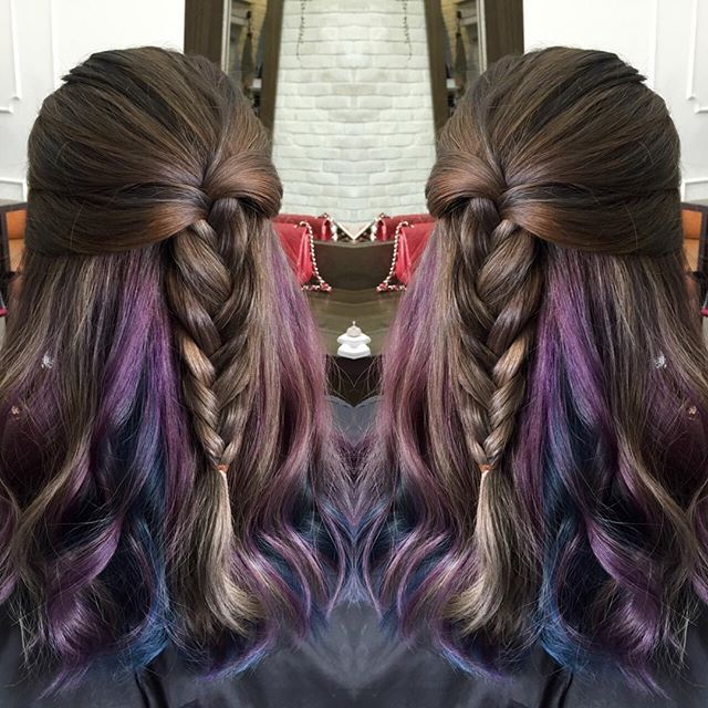 Hidden colors of space purple and blue in between hair ...