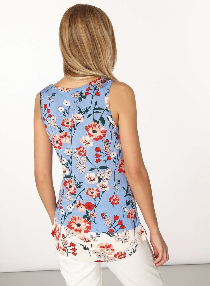 Womens Blue Poppy Floral Vest Top- Blue
