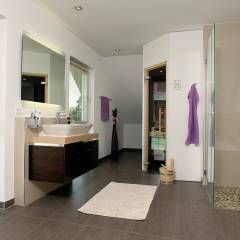 badezimmer ideen design und bilder pebble floor large mirrors wellness ...