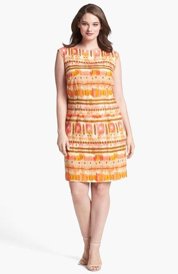 Tahari Ikat Print Sheath Dress (Plus Size) available at #Nordstrom
