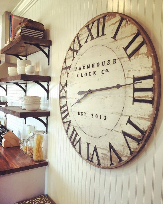 Extra Large Roman Numeral Farmhouse Clock Co. by BushelandPeckFarm