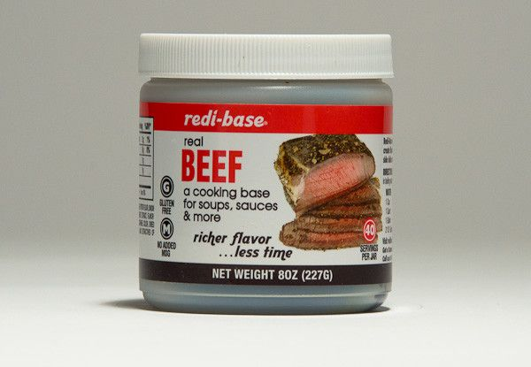 Redi-Base Gluten Free Beef Base creates a rich beef stock for soups, sauces, gravies, and enhances pasta or rice dishes. A dark brown paste base or seasoning containing natural ingredients including USDA inspected roasted beef. Laboratory tested to be Gluten Free (less than 20 ppm gliadin). Roasted beef as the first ingredient, this base dissolves in water or other liquids for a quick and easy preparation. Available in 8 oz. single jars and 12/8 oz. cases.