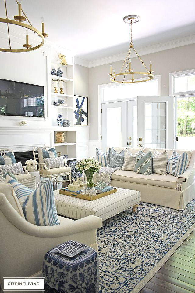 SUMMER LIVING ROOM TOUR WITH BLUE + WHITE