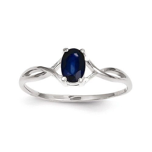 14k White Gold Genuine Blue Sapphire September Birthstone Ring - Sparkle & Jade, SparkleAndJde.com, [product_sku]