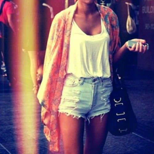 one of my favorite summer looks but where the hell can I get me some cute high waisted shorts like this?!!?!