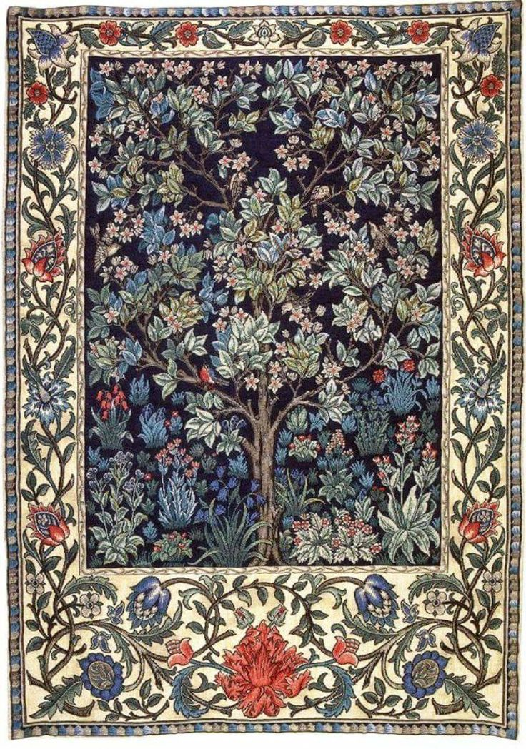 """This is """"Tree of Life"""" - a William Morris design that was embroidered by Jane Morris.  The embroidered piece hung in the  bedchamber at Kelmscott Manor.  Definitely check out the museum at Kelmscott Manor at https://www.sal.org.uk/kelmscott-manor/things-to-do/manor-house-and-collections/  Plus, this video of the manor house at https://www.youtube.com/watch?v=Cd39KqtShdc"""