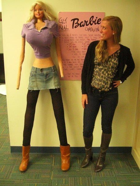 """If Barbie were an actual woman she would be 5'9"""" tall, have a 39"""" bust, an 18"""" waist, 33"""" hips and a size 3 shoe.   Barbie's weight is 110 lbs and is 5'9"""" tall. Barbie would have a BMI of 16.24 and fit the weight criteria for anorexia. If Barbie was a real woman, she'd have to walk on all fours due to her proportions.Slumber Party Barbie came with a bathroom scale permanently set at 110 lbs with a book entitled """"How to Lose Weight"""" with directions inside stating simply """"Don't eat."""""""