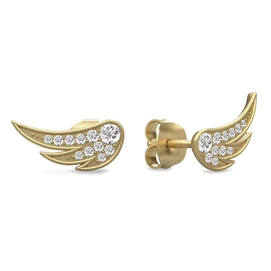 Swan gold plated stud earrings faceted with zirconia