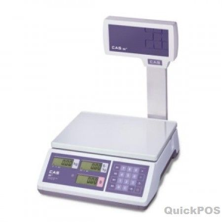 CAS ER Junior 15kg Price Computing Scale with Pole Display The CAS ER Junior 15kg Price Computing Scale provides exceptional value. With great features such as a large platter with metal surface easy to read backlit LCD display and it's able to operate stand alone on batteries. This version also comes with a customer pole display-POS equipmnet and POS hardware