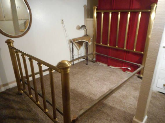 Antique Brass Bed 4 Poster Double Full Bed Cast Iron rails