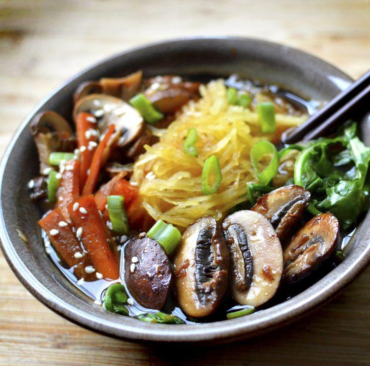 Vegan Ramen Soup with Paleo Spaghetti Squash - Gluten Free Rich Bitch Cooking Blog