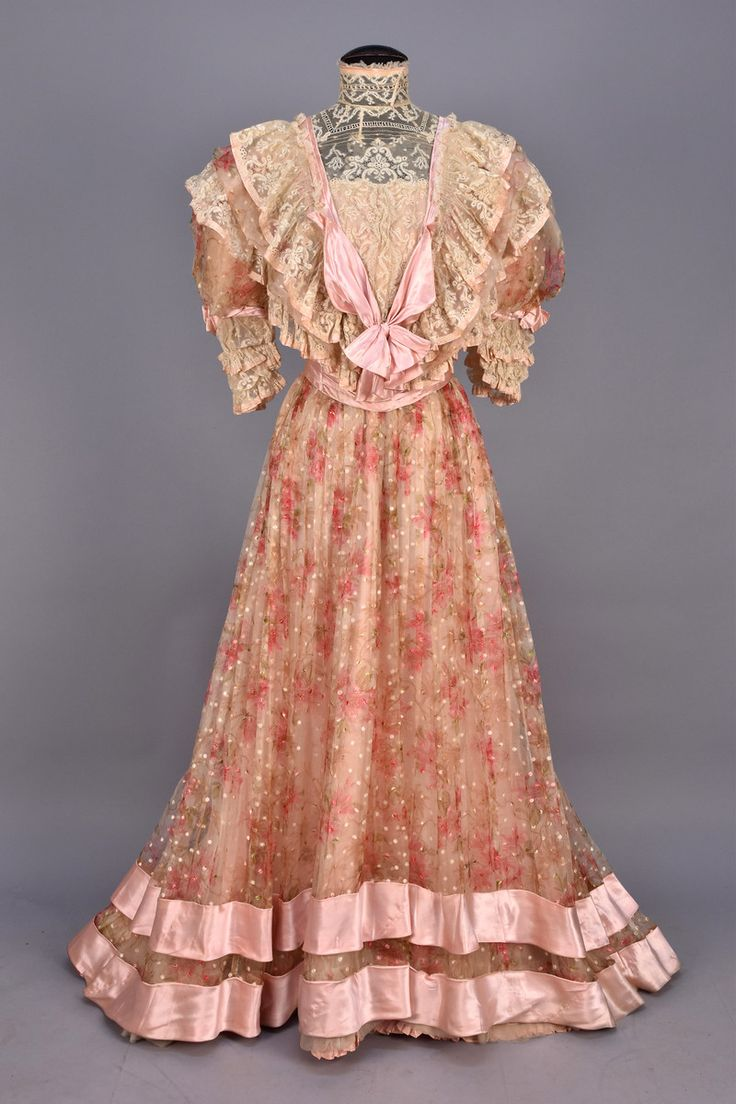 PRINTED and BROCADED SILK AFTERNOON DRESS, c. 1905.