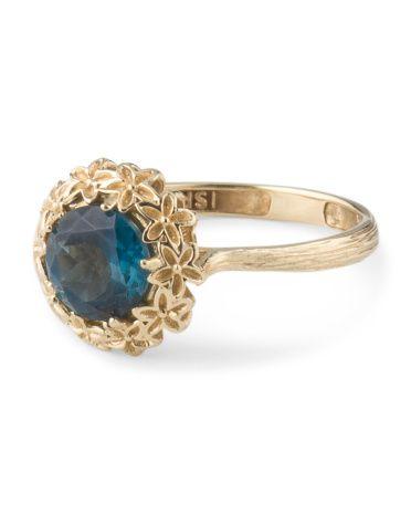 14k Yellow Gold London Blue Topaz Ring Paz Creations