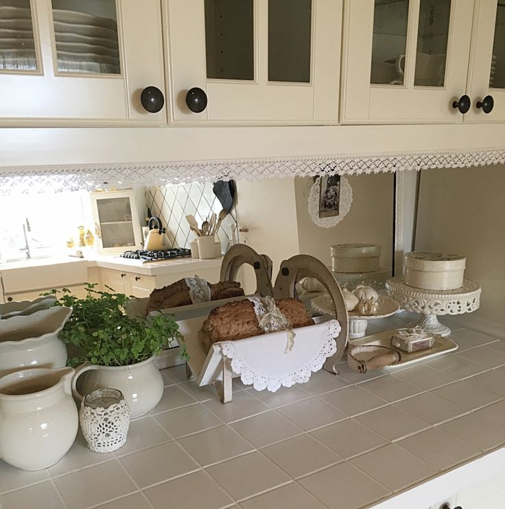 Homemade bread in my white romantic shabby chic kitchen