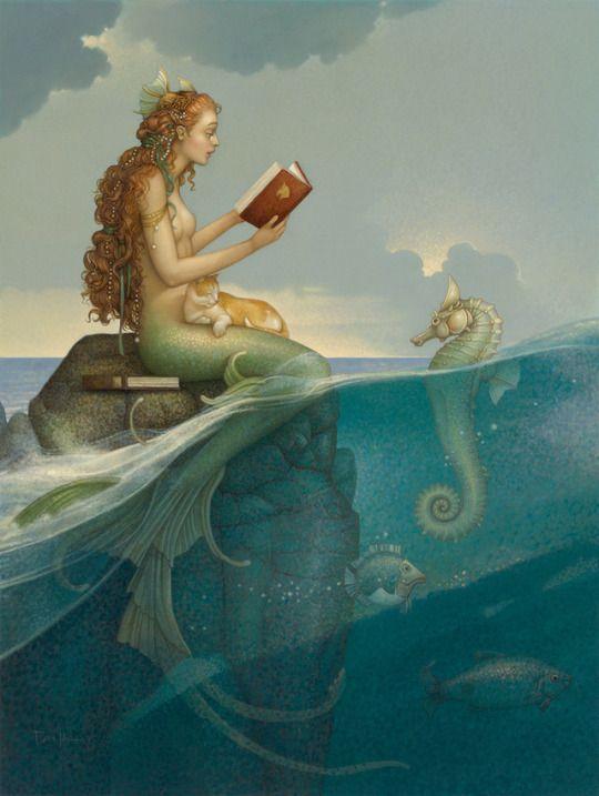 Sirena lectora (ilustración de Michael Parkes)