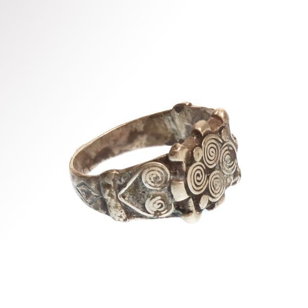 Viking Silver Ring with Spiral Patterns, 1.9 cm inside D / Silver, 7.3 grms