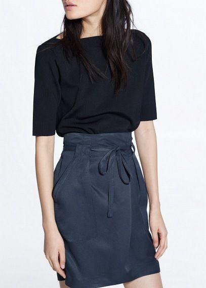 Premium - linnen rok met strik | MANGO