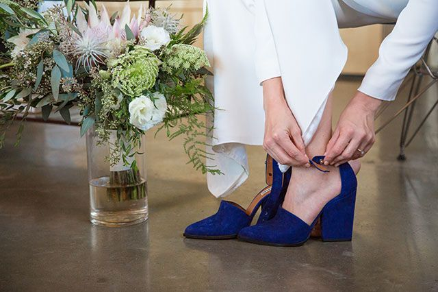 This Bride's Wedding-Day Shoes Are EVERYTHING #refinery29  http://www.refinery29.com/california-farm-wedding-pictures#slide-2  Carolyn's gorgeous Whistles heels were perfect for her big day — and beyond....