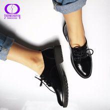 Pisos de Estilo Británico Zapatos Oxford Mujer Primavera Oxfords de Cuero Suave Talón Plano Zapatos Casuales de Encaje Hasta Zapatos de Las Mujeres Retro Brogues(China (Mainland))