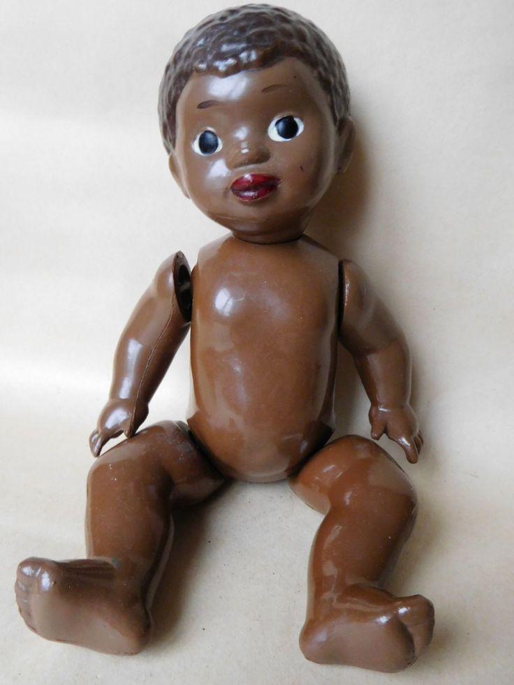 Кукла,пупс,*Мальчик Негритёнок*,целлулоид,клеймо ОХК,волосы рельефные. Рост-26см.