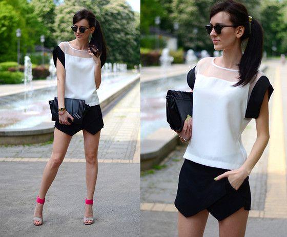 Daisyline . - Zara Shorts, Nine West Heels, Zara Bag, Blouse - B&W