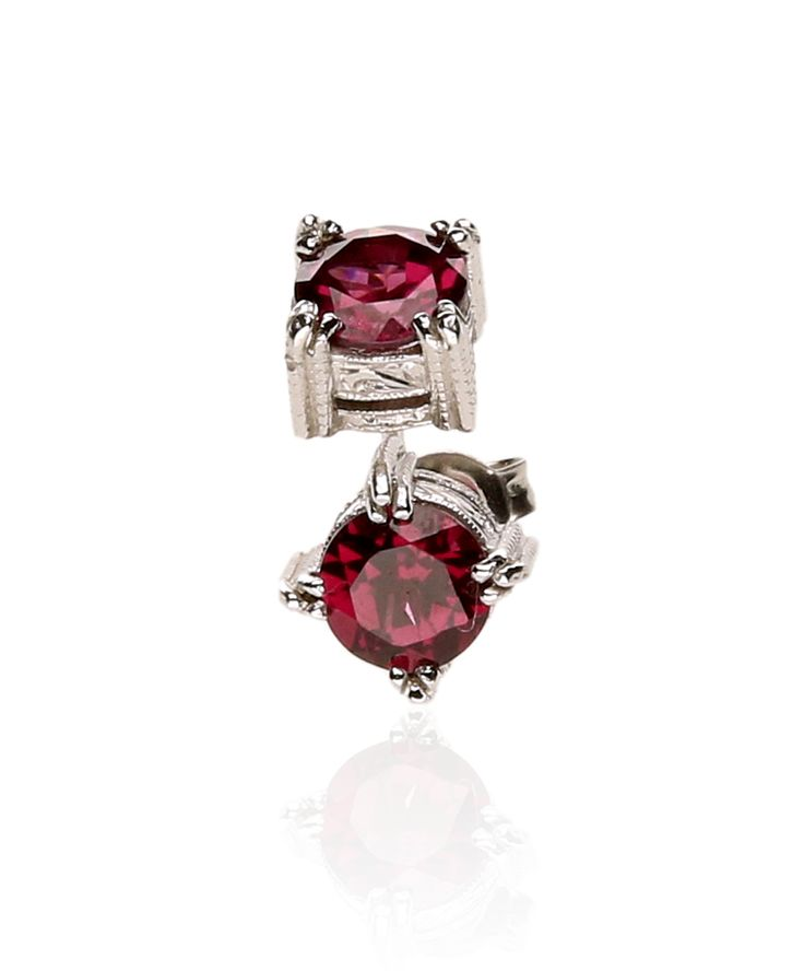 We love these rich ruby red rhodolite studs perfect for work, play and that romantic evening out!