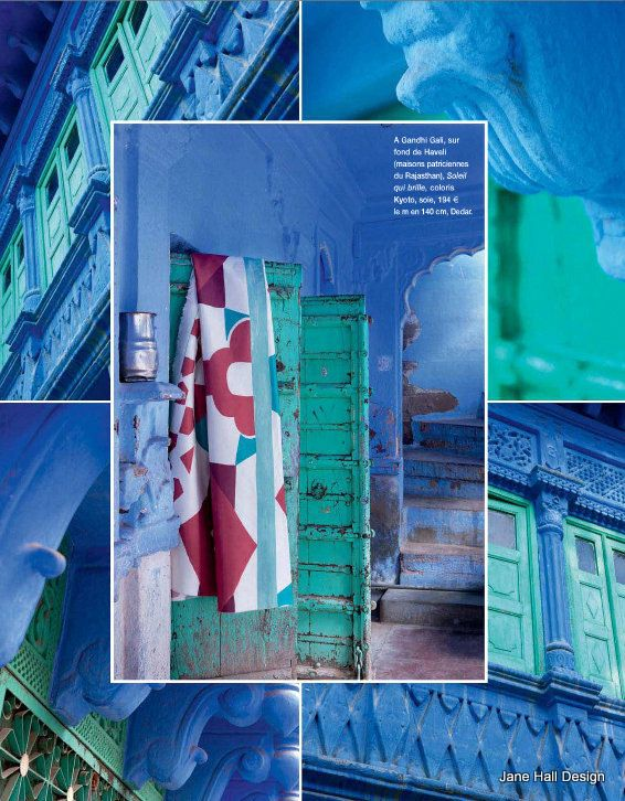 Scenes from Jaipur India. This city is painted in shades of Cobalt and Cornflower Blue featured Cote Sud home decor magazine from France