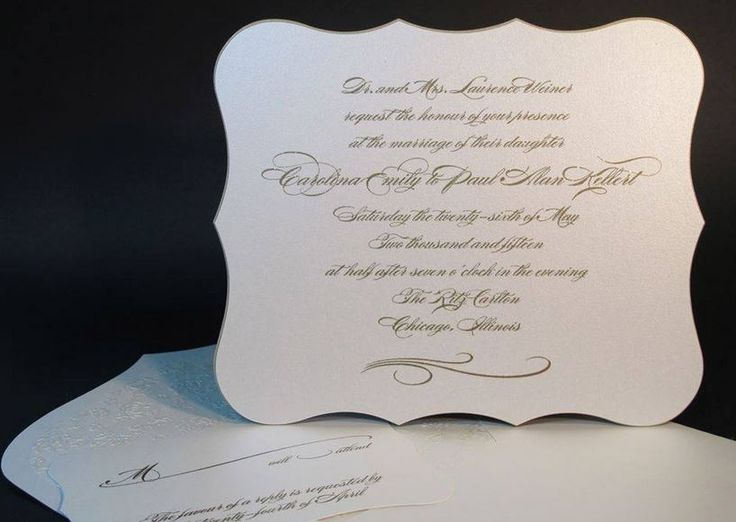 Arlene Segal Designs Thermography Wedding Invitation Has Die Cut Scallops  Beautifully Edge Painted In Gold, On An Extra Thick Museum Board Card Stock.